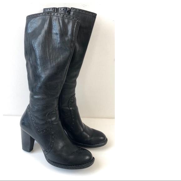 Born Schuhes   schwarz Side Leder Side schwarz Zip Knee High Stiefel 75   Poshmark 9b5f17
